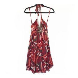 BCBGMaxAzria Beaded Halter Dress Disco Print
